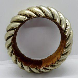 Bangle Bracelet Chunky Wood And Metal